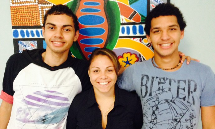 From left to right - Dylan Rettke, Liberty Simpson and Treston Namok4476
